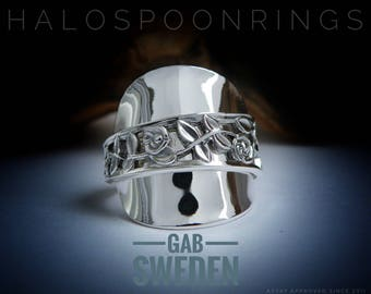 Stunning Chunky Swedish Ladies Trailing Rose  Spoon Ring by Gab Sweden hallmarked 830s.