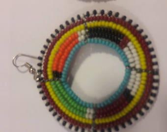Circular Beaded multi colored Earrings