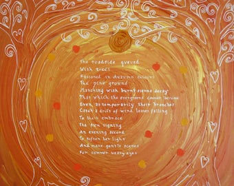 The Roadside Queued, Original Painting and Poetry by Katrina Palmer, Acrylic on unframed canvas
