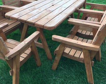 8 seater garden furniture set. This table can also come as a round table.