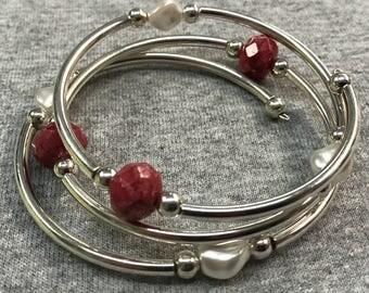 Rubies and Pearls wrap bracelet