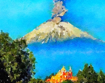 Popocatépetl Volcano Mexico Original Watercolour Painting Q294