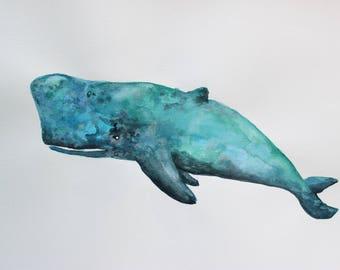 whale watercolor, sea creatures, nursery decor, painting, fantasy, decoration, home decor, bathroom, office, teal, blue, green