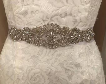 White crystal/pearl beaded bridal sash belt
