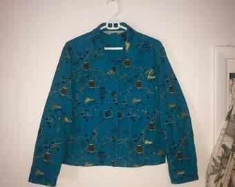 Azure Blue Denim Jacket- Chinese Lantern Print