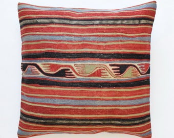 "Kilim rug pillow cover 26""x26"" (65x65cm) 022"