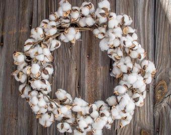 "22"" Cotton Wreath, Beautiful"