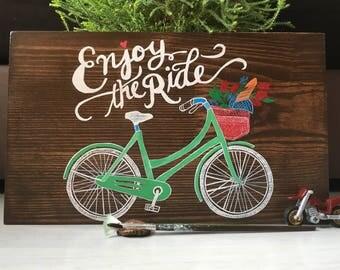 Bicycle wood sign/Enjoy the ride wood/Bike wood sign/Bike art on wood/Wood Saying Sign/Bicycle painting wood/Wood wall art bike