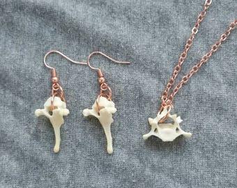 Dainty Rose Gold Animal Vertebrae Necklace and Earrings Set