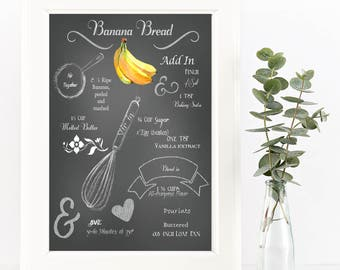 Chalkboard Recipe Art Print-Printable-Banana Bread Recipe-Kitchen Art-Instant Download