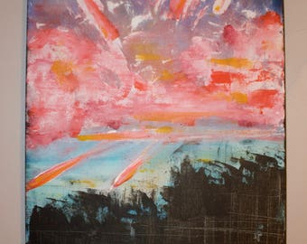 Abstract Urban Sunset Painting