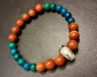 Barefoot on the Beach... Goldstone and Turquoise Jasper Bracelet with Sterling Silver Footprint Bead