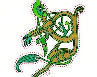 Q Celtic drop cap from the Book of Kells, Irish style, original illumination artwork