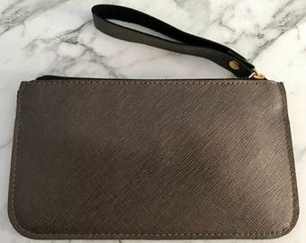 Monogram Saffiano Leather Pouch Wristlet in Chocolate Brown