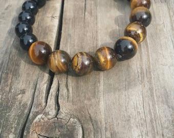 Tigers eye and black onyx bracelet