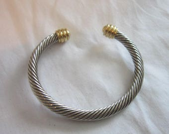 Vintage Gold and Silver Tone Spireled Ladies Cuff Bracelet