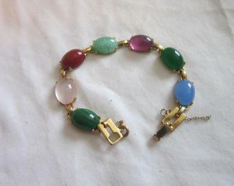 Vintage Gold Filled & 7 different Semi Precious Stones Bracelet