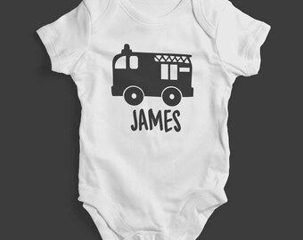 Personalised Fire Engine White Baby Grow (bodysuit), emergency services