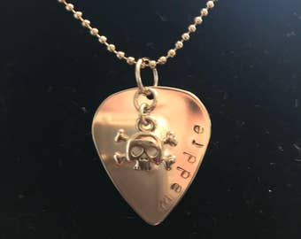 Rock and roll guitar pick personalized necklace