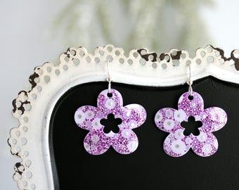 Purple Floral Dangle Earrings - Small