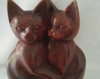 Wooden Hand Carved Pair Cats 1970's Rustic Retro Figurine