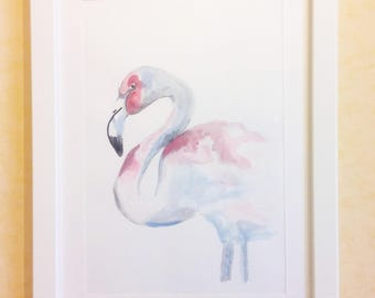 White-White Flamingo Flamingo-drawing mixed media on cardboard-acrylic painting and Watercolor-Painting with wooden frame