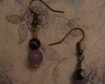 Lavender Jade and Purple and White Striped Agate Earrings