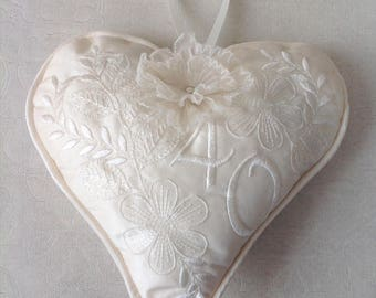 A Luxury Silk Lavender Heart, Personalised as a special gift. A handcrafted memento. Mother of Bride, groom, bridal gift.