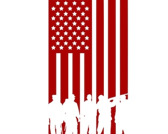 American Flag with Military Silhouettes