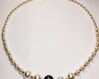 Swarovski Crystal  Pearl Necklace Handmade