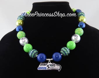 Seattle Seahawks Bubblegum Bead Necklace with Pendant