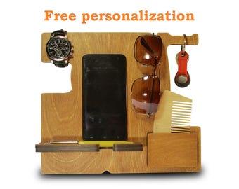 Charging station wood, wooden charging dock, smartphone docking station, desk gadgets, executive desk set, best present for boyfriend