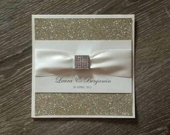 Hollywood Glamour handmade Wedding Invitation