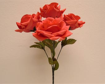 "2 Bushes CORAL Jumbo Open Rose 5 Artificial Silk Flowers 14"" Bouquet 1171CL"