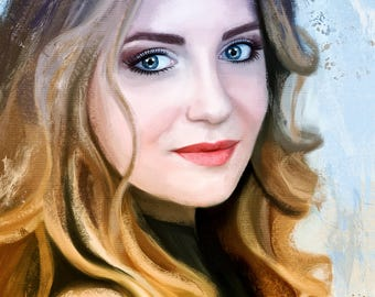 Custom portrait from photo Custom digital portraits  Personalized portrait Painting from photo  Gift Digital painting Anniversary Gift