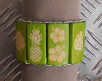 Pineapple hibiscus bamboo bracelet