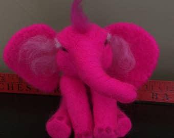 Needle Felted Pink Elephant
