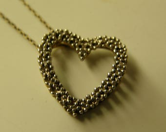 """Sterling Silver Diamonds Heart Pendant - 18"""" Sterling Silver Rope Chain Necklace"""