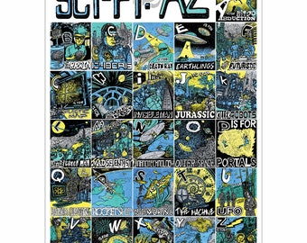 Sci-Fi A to Z A2 Science Fiction Graphic Art Poster