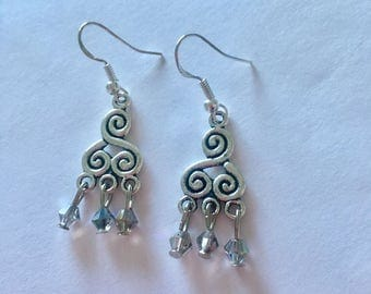 Silver Iridescent Chandelier Dangly Earrings with Swarovski Crystals On Sterling Silver Ear wires.