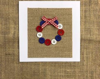 Red, White & Blue Button Wreath Card