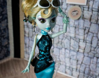 Monster high blue lady dress with black lace