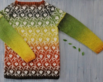 Jacquard hand-knit sweater Ficus