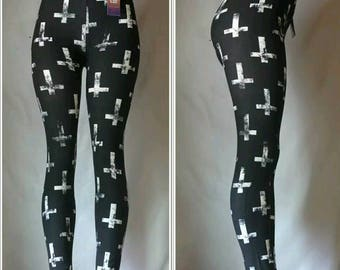 Black Buttery Soft Leggings with White Crosses