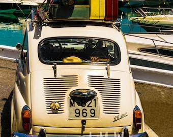 Retro Fiat 500 Print, Classic Cars, Fiat 500, Printable Wall Art