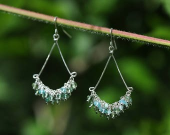 Apatite and amazonite chandelier earrings with hammered sterling silver components