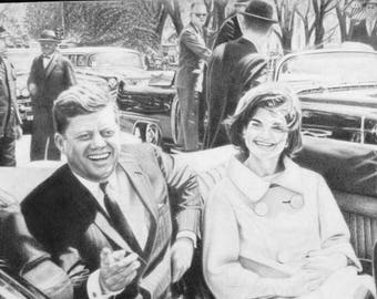 John F Kennedy original pencil drawing