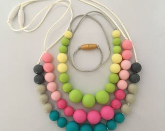 Candy color round necklaces