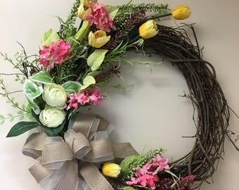 Spring wreath, indoor wreath, outdoor wreath