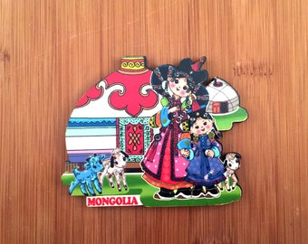Cute Mongolian mother and daughter magnet